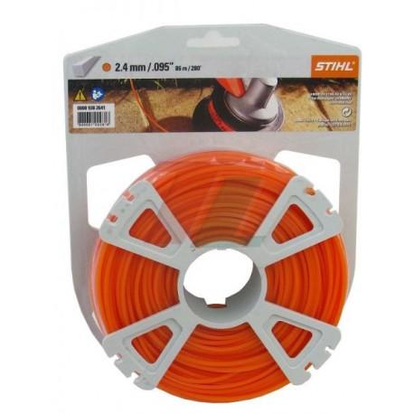 Fil nylon carré Stihl orange Dia. 2.4mm - Long 83 mètres 00009302641