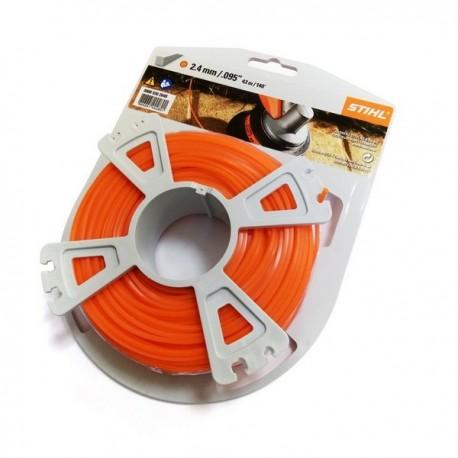 Fil nylon Carré Stihl orange Dia. 2.4mm - Long. 41 mètres 00009302640